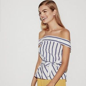 Express Striped Off The Shoulder Peplum Top
